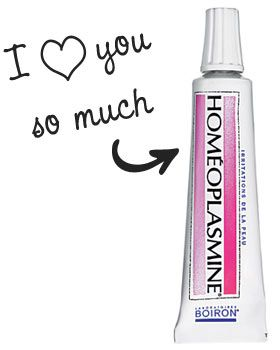Homéoplasmine comme baume à lèvres gercées, gel à sourcils, base de fards à paupières, soigner les ampoules, etc.