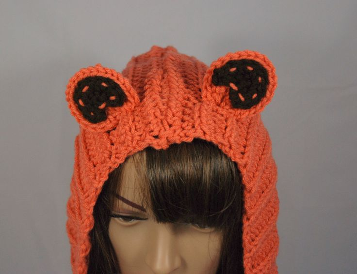 Women's Crochet Snood Orange Bear MADE TO ORDER by courtanai on Etsy