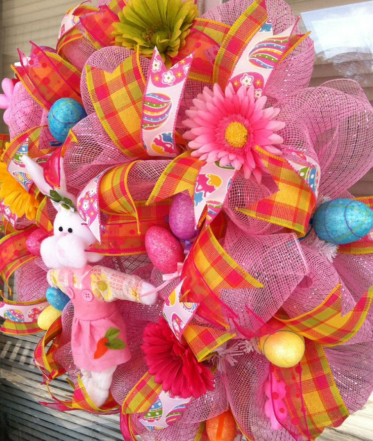 Pink bunny deco mesh Easter wreath