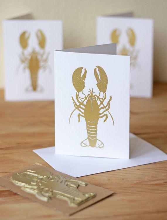 Lobster Linocut Cards by RoseJacksonTaylor on Etsy www.rosejacksontaylor.com