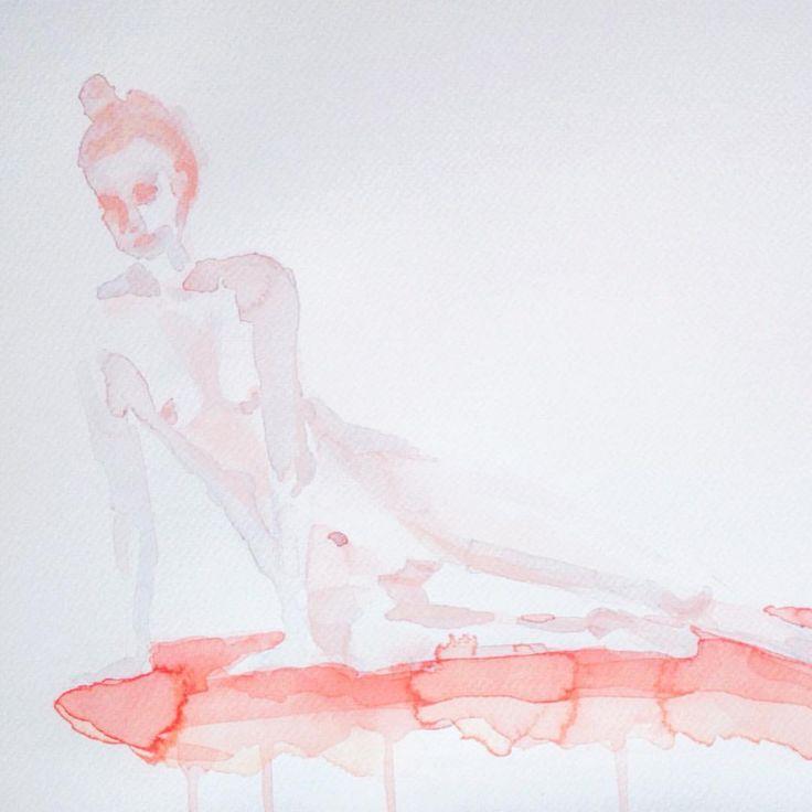 Instagram @kimartinsartist  || Number 14 || 30,5cmx40,5cm watercolor ink in watercolor paper with 300g/m2 #watercolor #painting #art #body #nude #decoration #wall #kimartinsartist #color