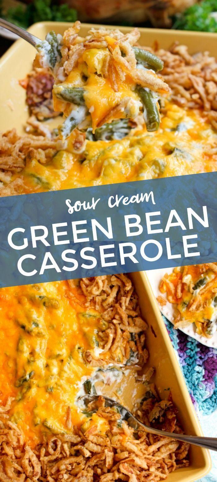 Sour Cream Green Bean Casserole In 2020 Creamed Green Beans Green Bean Casserole Green Beans