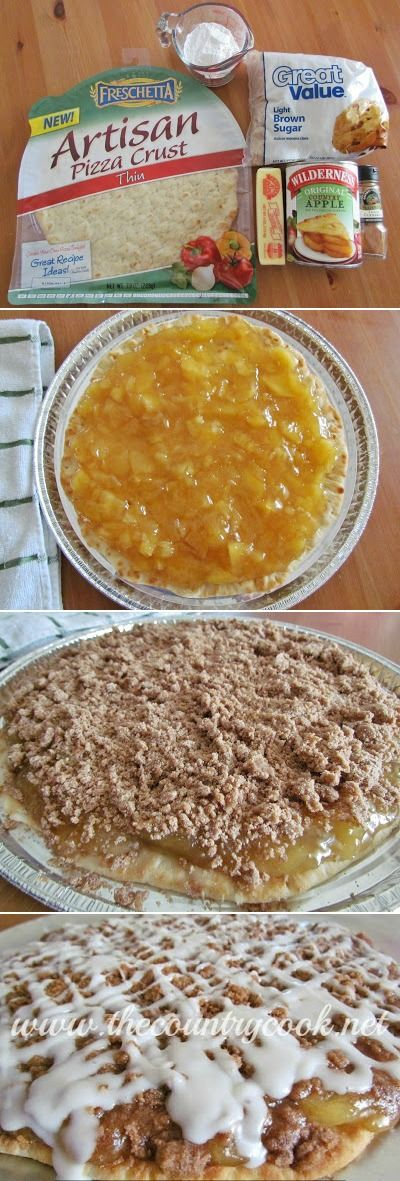 Apple Pie Dessert Pizza, we've made this with cherry pie filling too - SO good! It gets eaten FAST!! | www.thecountrycook.net