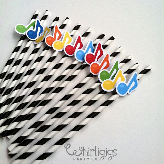 #Music Note Music #Party or Recital #Straws by whirligigspartyco