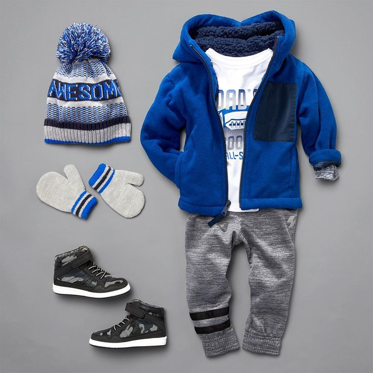 Toddler boys' fashion | Kids' clothes | Fleece full-zip hoodie | Jogger pants | Graphic tee | Sneakers | Mittens | Pom pom beanie | Activewear | PLACE Sport | The Children's Place