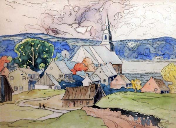 Ile d'Orleans, (Island of Orleans near Quebec City), 1940, watercolor by Marc-Aurele Fortin