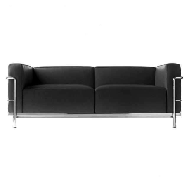 Cassina - Le Corbusier LC3 Sofa Cassina - grafite black/leather LCX 13X414/frame chrome