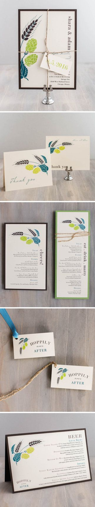 Hops Love! Brewery inspired wedding invites. Customize with your own wedding colors: www.beaconln.com