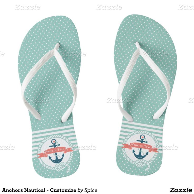 Anchors and Stripes Nautical Flip Flops - Customize banner text area