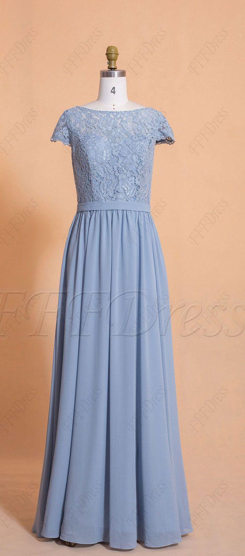 Dusty Blue Modest Bridesmaid Dresses Cap Sleeves Cap Dress Elegant Bridesmaid Dresses Modest Bridesmaid Dresses [ 1500 x 663 Pixel ]