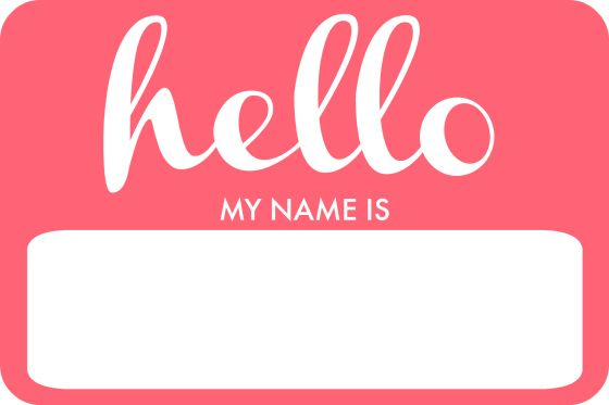 'Hello, my name is' free printable in pink. Blue also available.