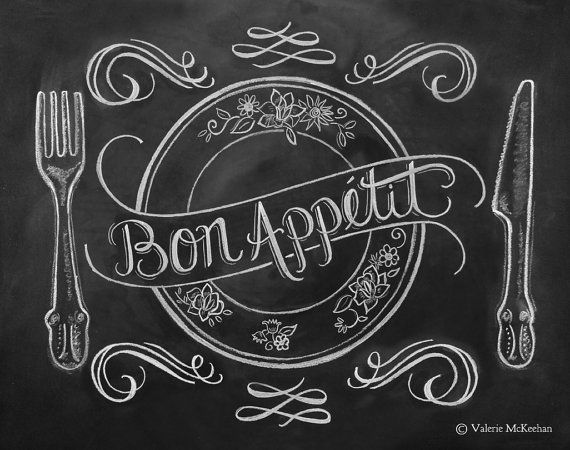 Chalkboard Art - French Country Kitchen - Kitchen Illustration - Bon Appetit Kitchen Art Print - Hand Lettering