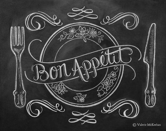 Chalkboard Art   French Country Kitchen   Kitchen Illustration   Bon  Appetit Kitchen Art Print