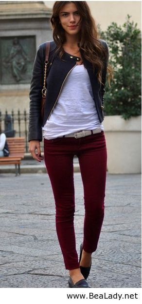Burgundy jeans, leather jacket and white tee