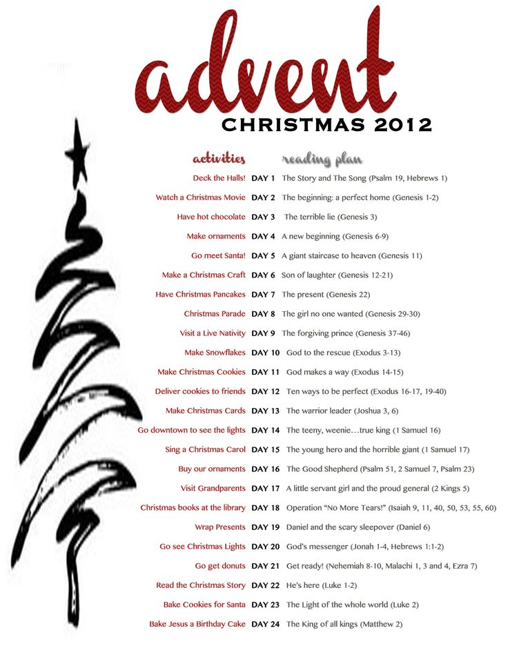 FREE Advent printable with daily activities and a reading plan for little ones going through the Jesus Storybook Bible!