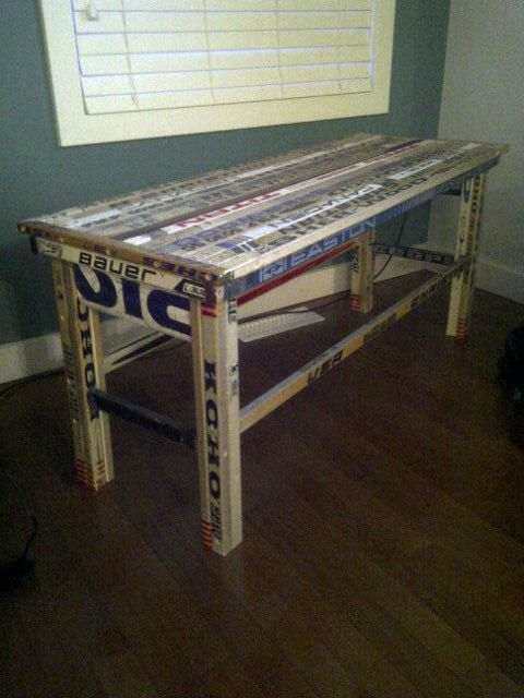 Hockey Stick Table. It Makes Me Think Of Brayton :)