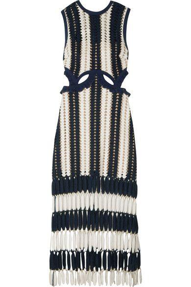 Self-Portrait - Striped Crochet-knit Midi Dress - Navy - UK