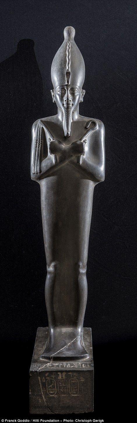 Special delivery: This life-sizer statue of Osiris is being loaned to the British Museum from the Egyptian Museum of Cairo for the display. The Saite statue  carries a dedication from daughter of the pharaoh Psamtik I