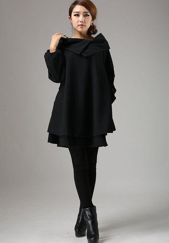 tunic top,Black tunic dress, womens dresses, wool dress,  swing dress, mini dress, bishop sleeve,big collar, wool tunic,Custom made  (733T)