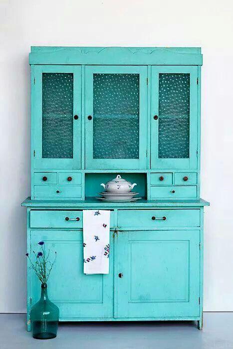 Turquoise kitchen buffet