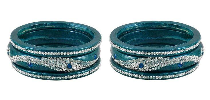 Set of 2 Stone Studded Cyan Blue Lac Bangles (Lac)