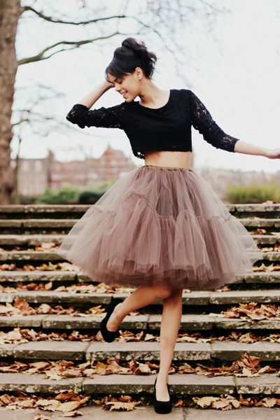 Crop top and tulle skirt.