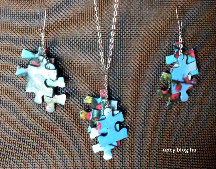 Jigsaw puzzle earring and pendant. Kirakó fülbevaló és nyaklánc.