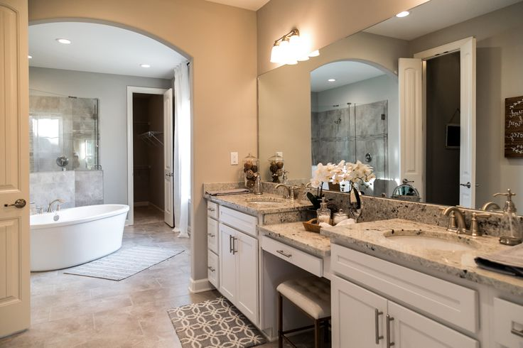 Regency Homebuilders : Master Bath, Drop- In Tub, Neutral, Gray, White, Walk Through Shower, Dual Shower, Shower Pebbles, Granite, Chandelier, Recessed Lighting, Farmhouse Style, (Cross Creek - Abbington Plan)