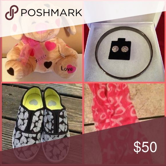 ♥Valentines Day  Bundle♥ ♥ UFC -1 Valentines Day Dog -  ♥ NWB -1 Earring & Bracelet Set  ♥ NWB -1 - Size 6 Slide on Shoes ♥ UFC - 1 Pink XOXO Scarf Accessories