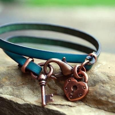 Heart Lock and Key Wrap Leather Bracelet in by BandanaGirlJewelry, $16.00