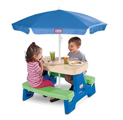 Little Tikes Easy Store Junior Table with Umbrella is just the right size for toddlers. The portable design requires no tools – just fold and go. Our children's picnic tables are built with legendary Little Tikes quality, and wipe clean easily. This table is perfect for indoors or outdoors. It has a stylish umbrella with UV protection for shade during playtime. Umbrella is removable to bring indoors or to store away.