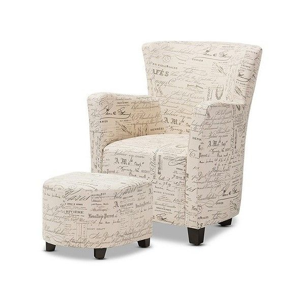 Benson French Script Patterned Fabric Club Chair and Ottoman Set ($292) ❤ liked on Polyvore featuring home, furniture, buff beige, beige furniture, baxton studio furniture, ivory furniture, french furniture and baxton studio