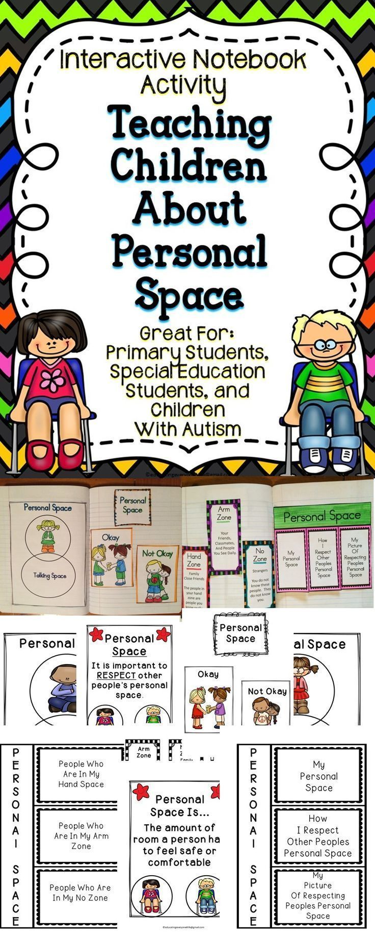 All About Personal Space For The Classroom and For Kids - Understanding personal space can be difficult for some children. This resource includes activities to help children learn how to identify personal space. This classroom resource is great for students with autism. This is a great resource for children from Teachers Pay Teachers!