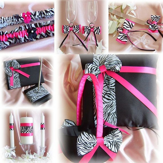 11 best dream wedding hot pink black and white zebra print theme zebra wedding hot pink and black flower girl basket ring pillow guest book mightylinksfo Images