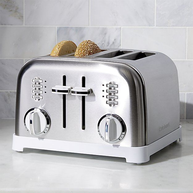 Cuisinart ® Classic 4-Slice White/Brushed Stainless Steel Toaster | Crate and Barrel