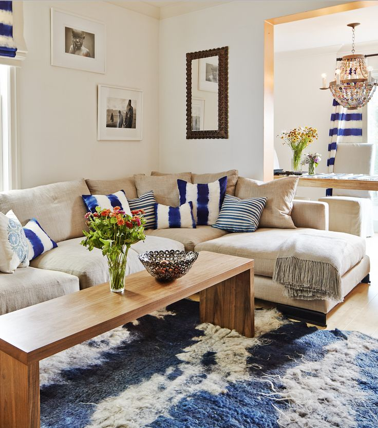 Serene San Francisco living room re do with throw pillows