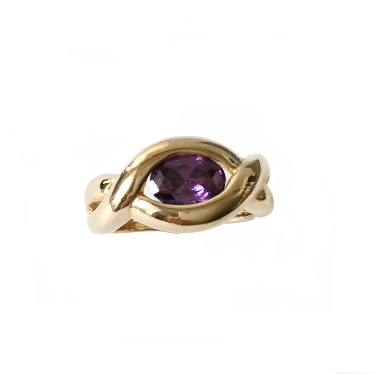 Vintage Amethyst Ring. Gold Plated and Oval Rhinestone Ring. Braided Band Ring. NOS French Jewelry Stock.