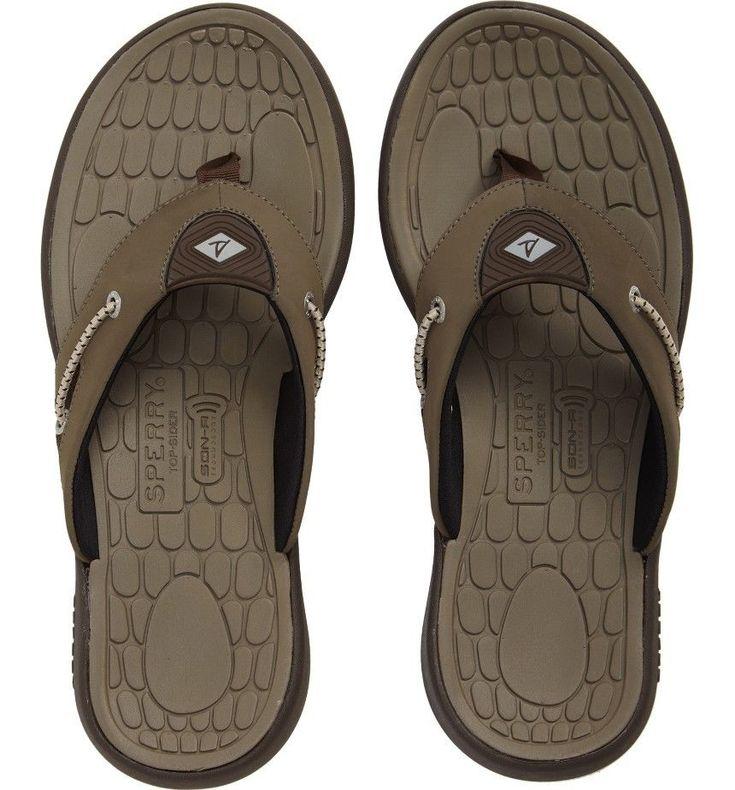 Sperry Top Sider Men's Big Eddy H20 Thong Sandals  Flip Flop Brown Size 13 D New #SperryTopSider #FlipFlops