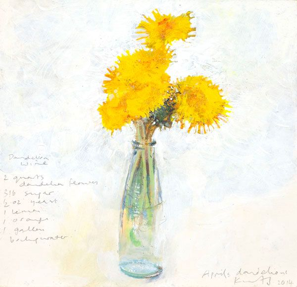 Kurt Jackson: April's dandelions. 2014 Campden Gallery, fine art, Chipping Campden, camden gallery, contemporary, contemporary arts, contemporary art, artists, painting, sculpture, abstract painting, gloucestershire, cotswolds, painting for sale, artwork for sale, modern art gallery, art exhibitions,arts gallery, gallery art, art gallery UK