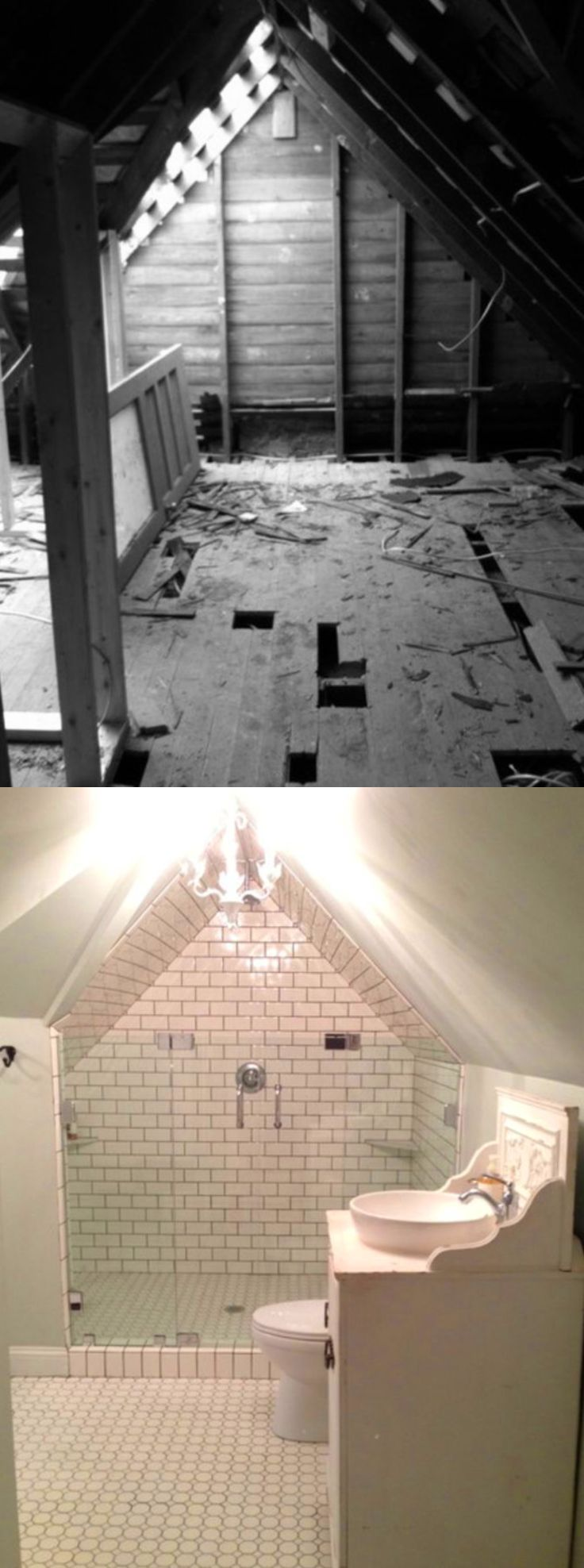 Before and After: Magnolia Homes' Farmhouse Attic Bathroom Reno