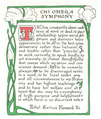 Chi Omega Symphony. Words to live by...always