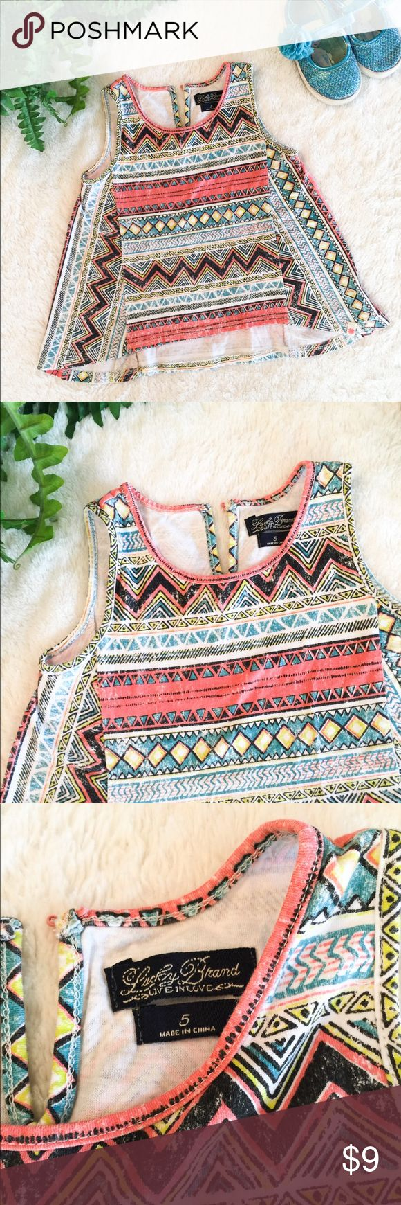 Lucky Brand ☘️ Aztec Top 5T Fun Aztec style print. Tank top arms and flare. A perfect go-to top. You can pull out so many colors to pair with shoes or pants! Prices are already low- bundle for extra savings! 🦌🎀 Lucky Brand Shirts & Tops Tank Tops