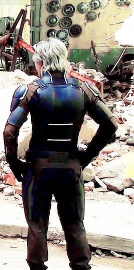 Quicksilver wearing XMen armor
