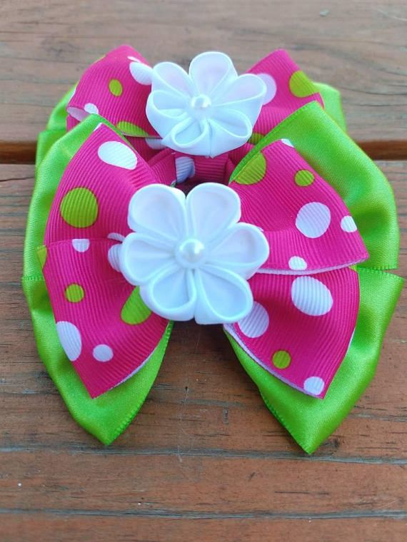 Check out this item in my Etsy shop https://www.etsy.com/listing/545777788/green-and-pink-bows-ponytail-bows-polk-a