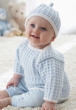 The perfect gift set - Matching checker block design on hat and pullover and an easy-access collar for easy on-and-off. Knit in Patons Beehive Baby Fingering