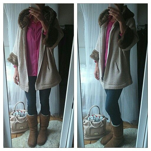 Winter outfit, zara coat, ugg boots, ugg shoes