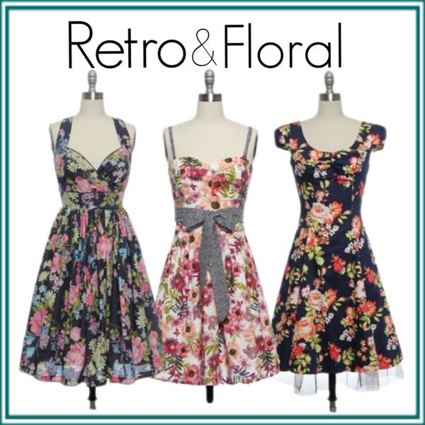 """Retro Floral Dresses"" by laceaffair on Polyvore"
