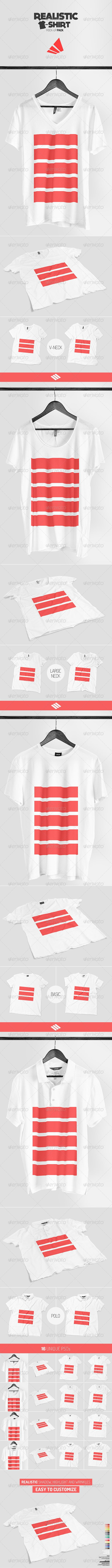 Realistic T-shirt Mock-up Pack  #t-shirt #v-neck • Available here → http://graphicriver.net/item/realistic-tshirt-mockup-pack/7325557?s_rank=147&ref=pxcr