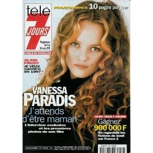 """Vanessa Paradis : """"J'attends d'être maman"""", dans Télé 7 jours (n°1919) du 08/03/1997 [couverture et article mis en vente par Presse-Mémoire]"""