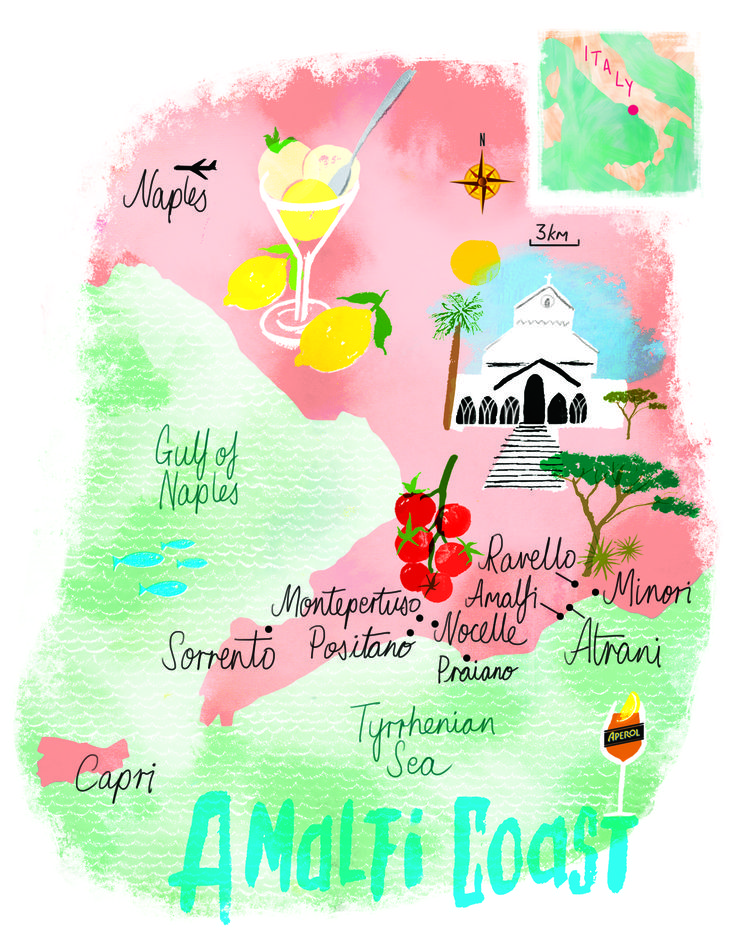 Amalfi coast map by Scott Jessop. July 2016 issue                                                                                                                                                      More